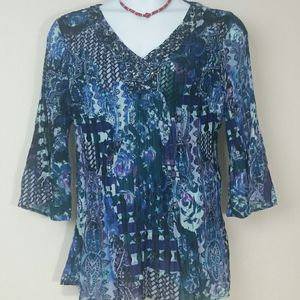 Top Tunic blouse blue purple green beaded stretch